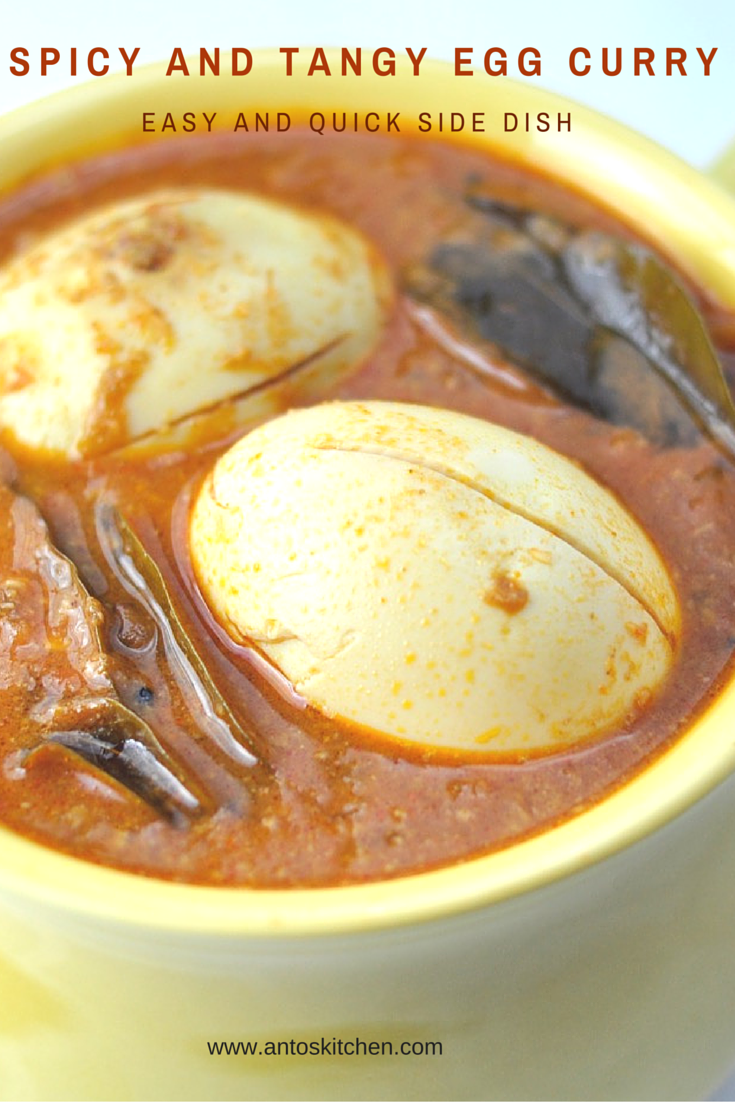 South Indian egg curry is an easy and flavorful side dish for rice in 35 minutes. It is a delicious Indian egg curry recipe with coconut, curry leaves and spices. #antoskitchen #egg #curry