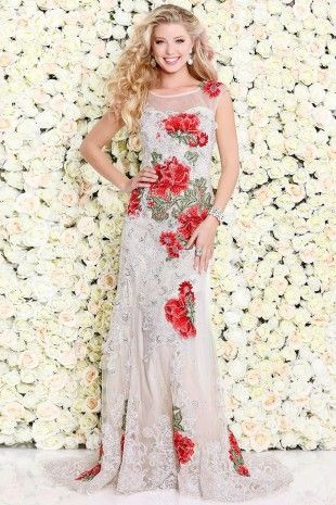 Ivory Body-Hugging Sleeveless Gown With Contrasting Florals 4092