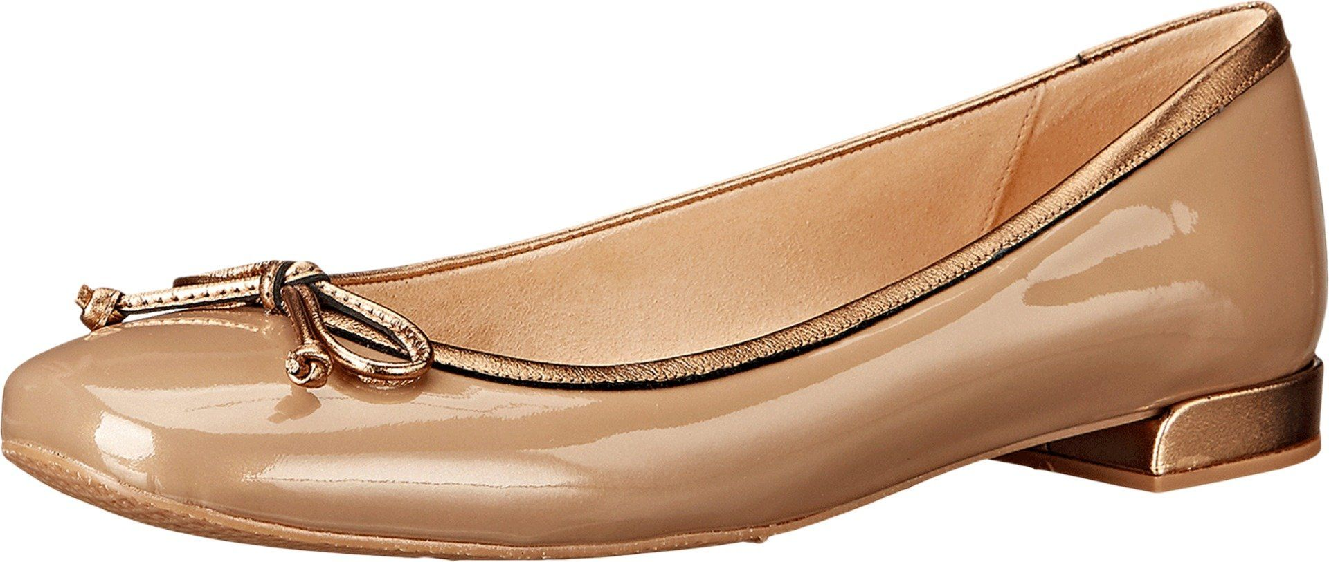 Stuart Weitzman Women's Shoestring Gold Aniline Flat 4 M. Made in USA or  Imported.