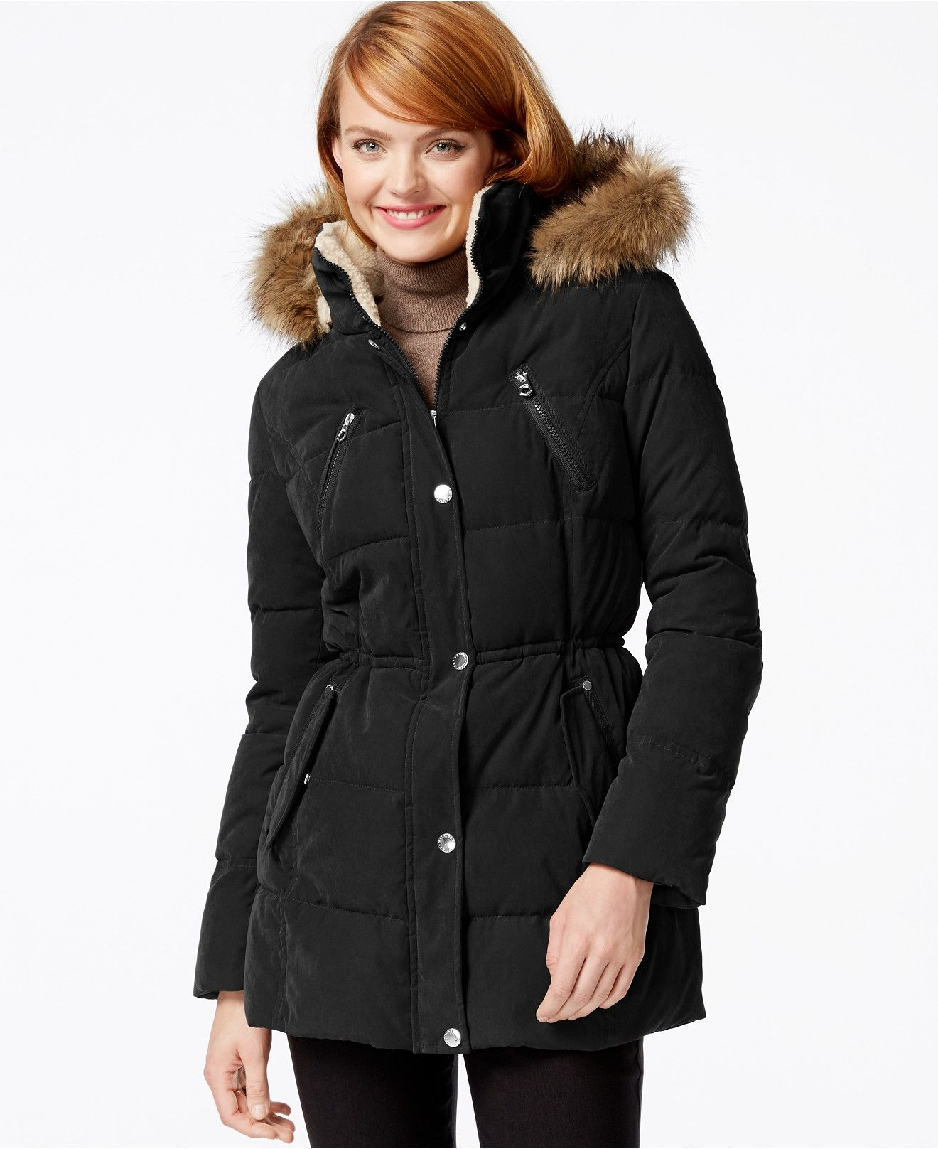 Nautica Faux Fur Trim Microfiber Parka Coats Women Macy S Coats For Women Clothes Design Fur Trim [ 1616 x 1320 Pixel ]