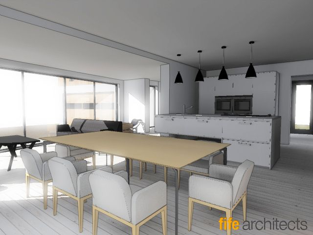 Rendering Of Kitchen Design By Fife Architects