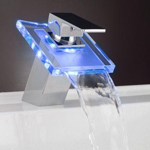 Lightinthebox modern single handle waterfall bathroom vanity vessel sink led faucet chrome - Led waterfall faucet ...