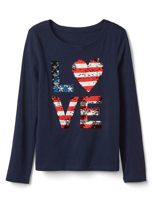fe6f406f Gap Girls Flippy Sequin Love Tee Dark Night Size XS | Products in ...