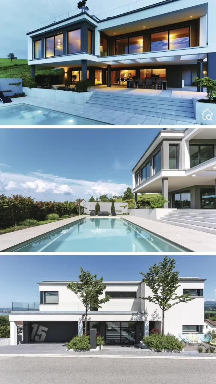Fertighaus Villa modern mit Flachdach Garage Pool Terrasse bauen Haus Design Ideen Bauhausstil
