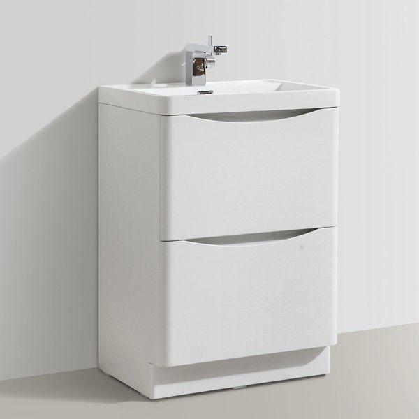 zenith bali white ash vanity unit 600mm - floor standing vanity