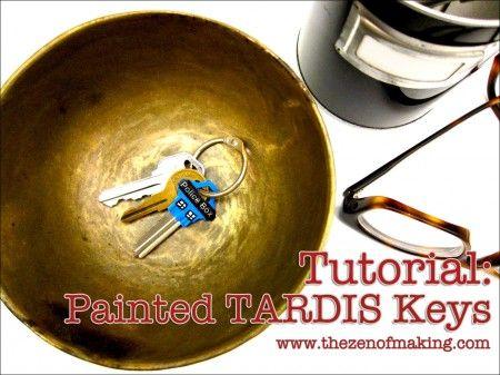Tutorial: Painted TARDIS Keys #TARDIS #DoctorWho #tutorial #painting