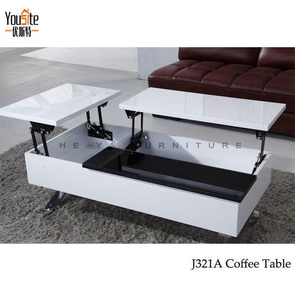 High Gloss Modern Lift Top Coffee Table Mechanism View Coffee