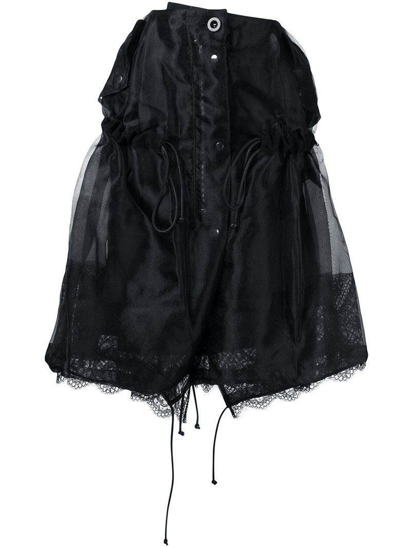 Sacai lace insert ruched skirt