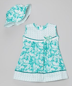 Look at this #zulilyfind! Turquoise Pin Dot Floral Dress & Hat - Infant, Toddler & Girls by Roberto Toscani #zulilyfinds