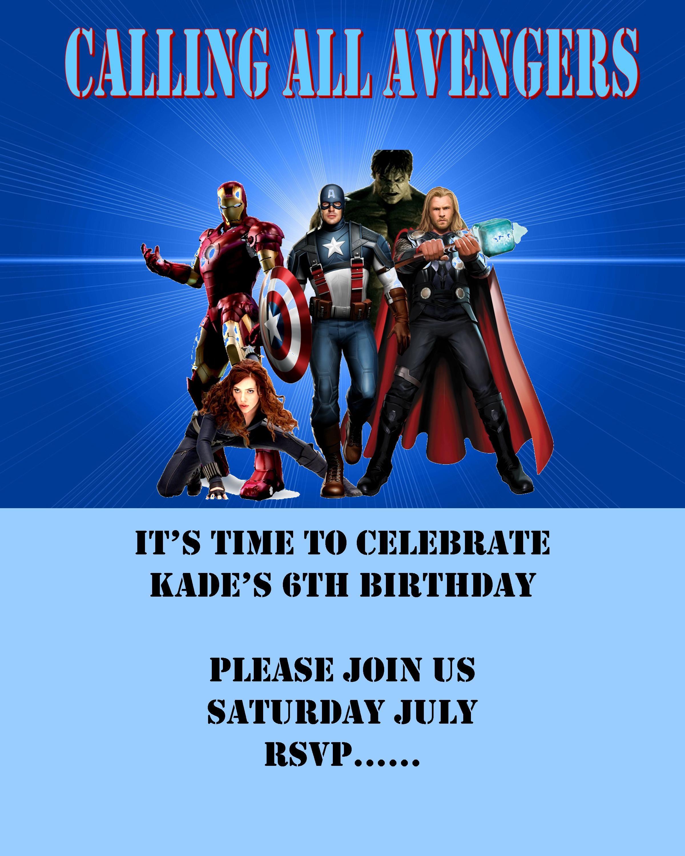 avengers birthday invitation  avenger birthday party