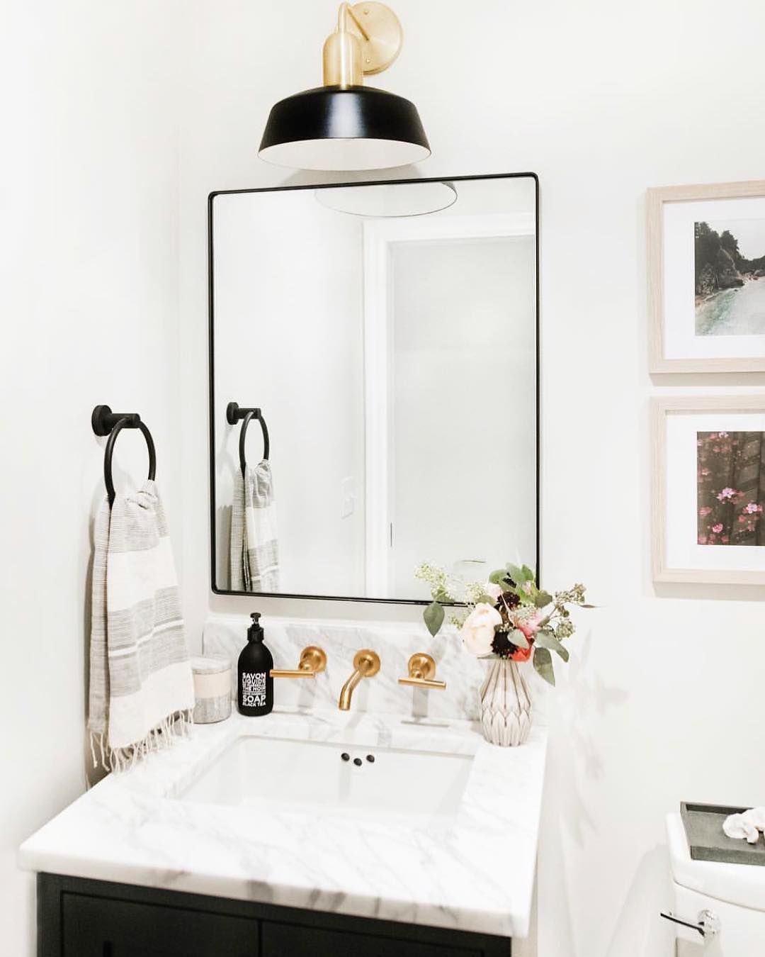 Marble Mixed Metal Finishes Yes Please Pretty Powder Room Design By Cohesivelycurated Including O Bathroom Mirror Design Powder Room Design Bathroom Model
