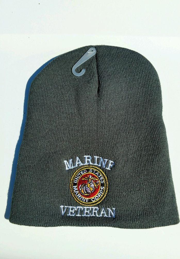 US Marine Corps Embroidered LOGO BEANIE Black Knit Hat Skull Cap USMC  Veteran  R  Beanie 42e42534bfa