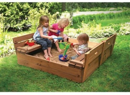 Covered Convertible Cedar Sandbox w/Canopy and Two Bench Seats by Badger Basket Sun Sand u0026 Water Badger Basketu0027s unique canopy sandbox is sure to & Sandbox With Cover For Kids Covered With Lid Wooden Outdoor ...