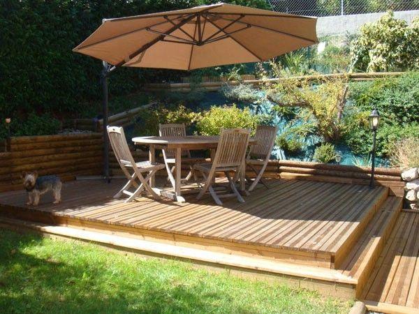 Terrasse Bois Exotique Demi-Niveau Avec Aménagement D'Espace Sur