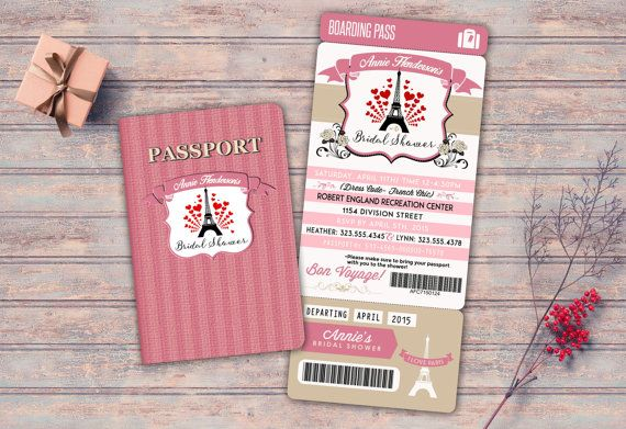 passport and ticket bridal shower invitation girl birthday party invitation travel birthday party invitation paris love pink