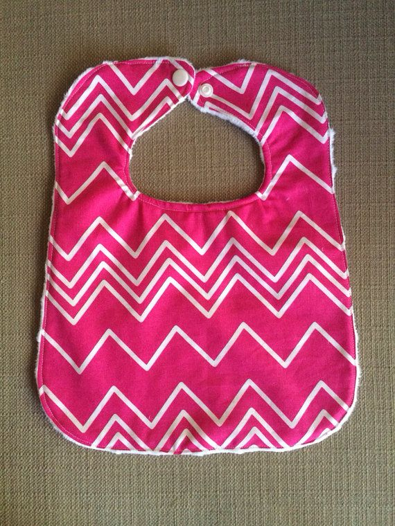 e1f68079a Baby Bib - Pink and White Chevron - Baby Girl Gift - 0-12 Months on ...