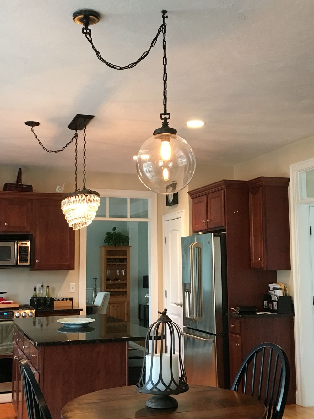 Solution For Off Centered Chandeliers Clearly When My House Was Ceiling Canopy Pendant Light Kits On Kit Wiring Built The Electrical Done Before Island Placed Result That Were Way Center