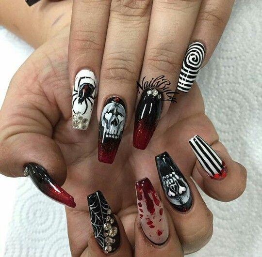 40 Stylish Short Coffin Nail Art Designs | Halloween ...