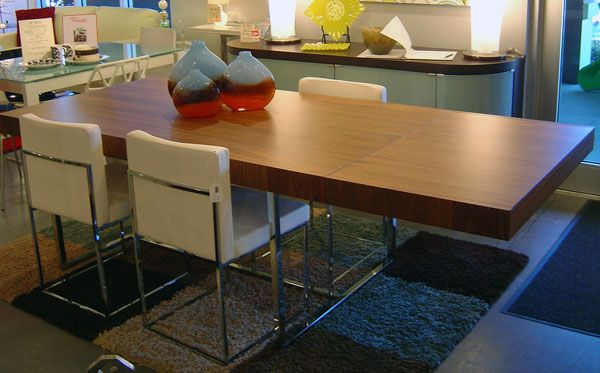 Image Result For Chrome Legs Brown Wood Tables