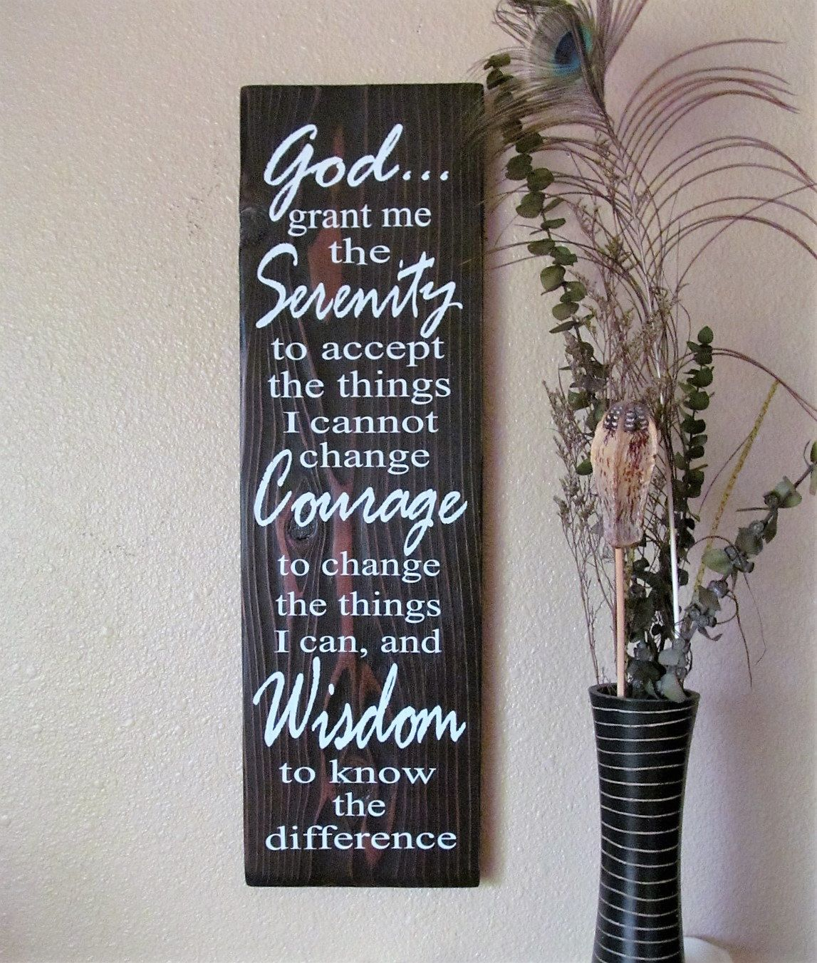 Serenity Prayer Beautiful Inspirational Sign Made With Kona Stained Cedar And White Lettering Home Decor