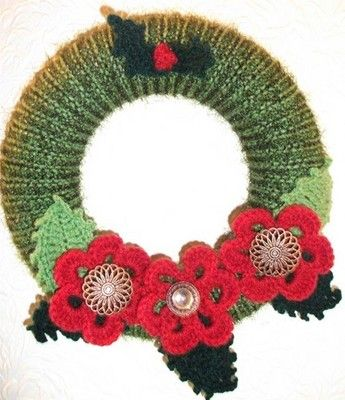Crochet And Knitted Wreath Holiday Crafts Pinterest Wreaths