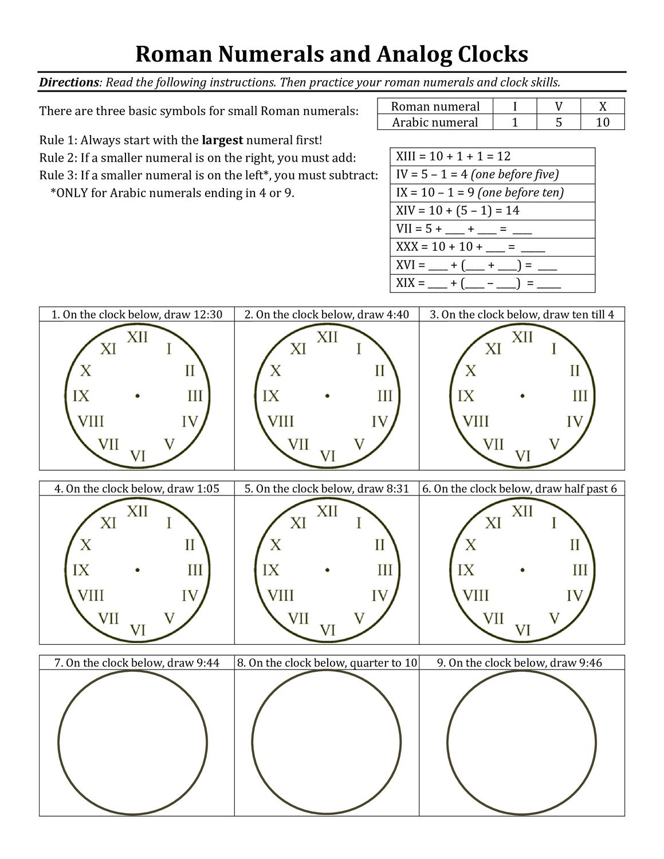 Uhrzeit Und Romische Zahlen Auf Englisch