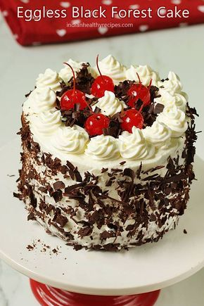 Eggless black forest cake is simple to make, tastes delicious, moist & light. #egglessblackforestcake #blackforestcake #eggless #blackforest
