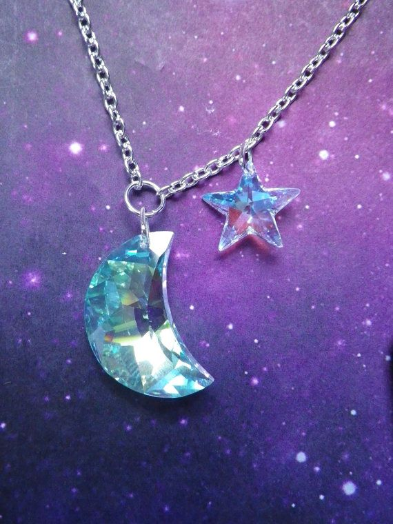 Crystal moon charm necklace
