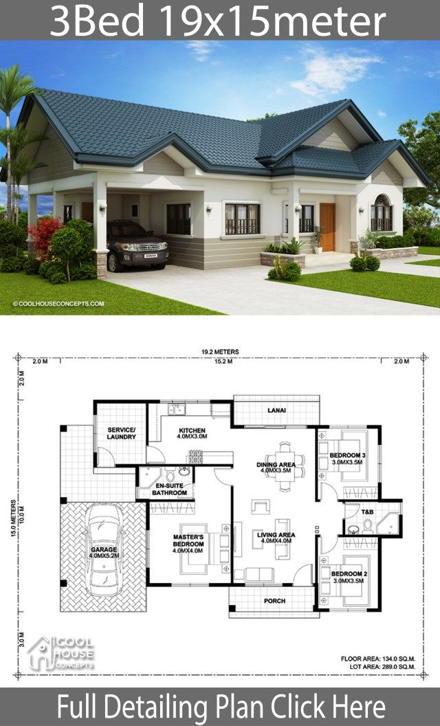 Home Design Plan 19x15m With 3 Bedrooms Home Ideassearch House Construction Plan House Plan Gallery Family House Plans
