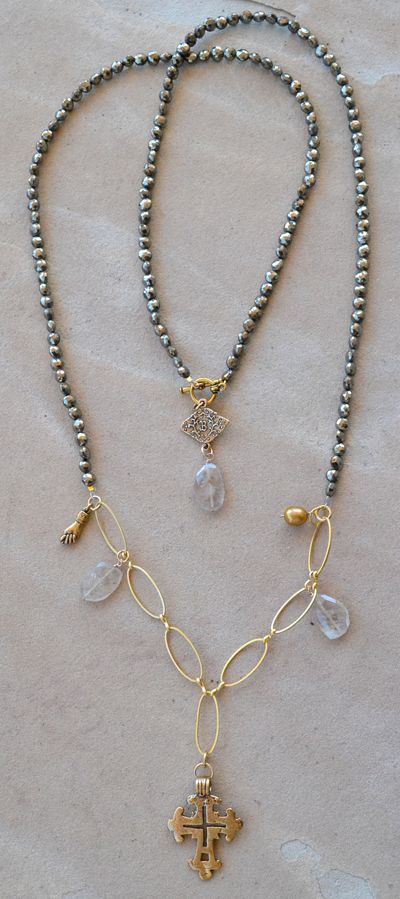 Ethnic Pyrite Necklace Long By Bittersweet Designs The