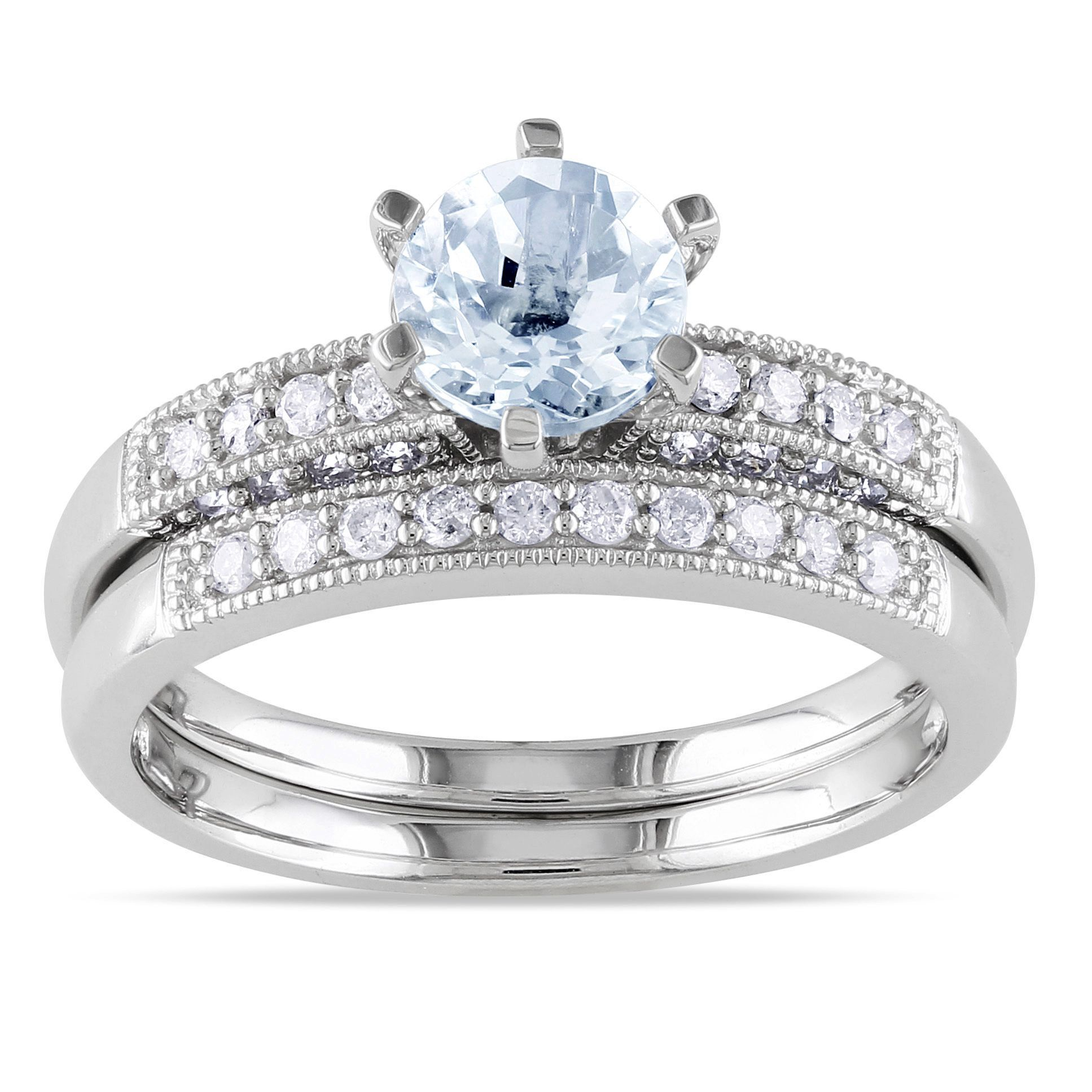 Miadora 10k White Gold Aquamarine 1 3ct TDW Diamond Bridal Ring