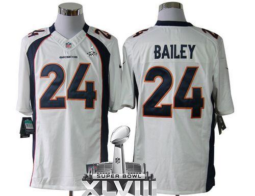 Nice Nike Broncos #24 Champ Bailey White Super Bowl XLVIII Men's Stitched