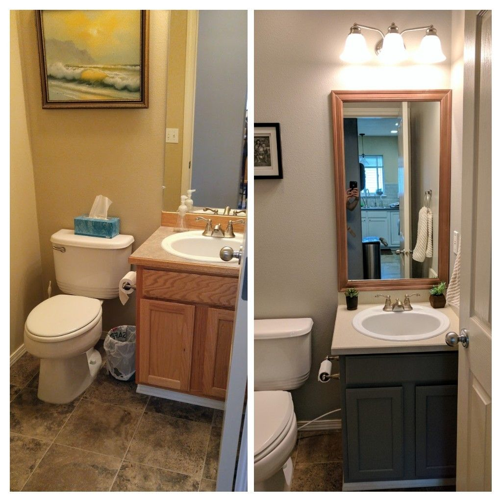 Before and after half bath spray painted counter with