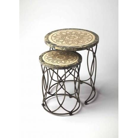 Distressed Blue Fossil Stone Round Etched Top Nesting Tables