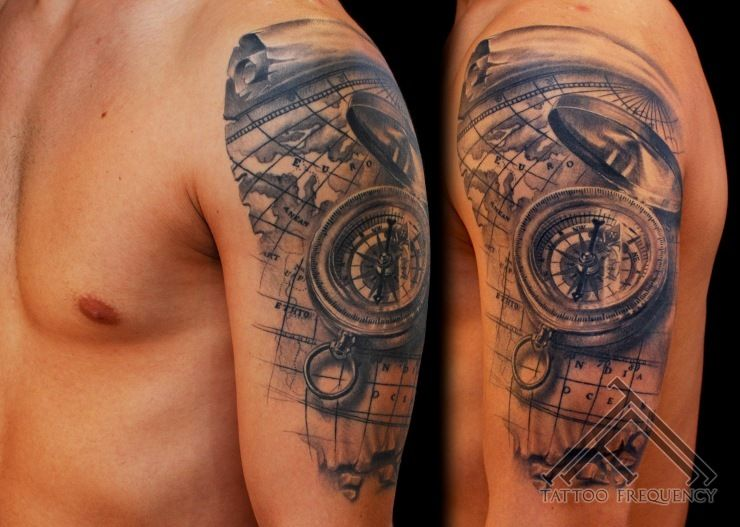 a7c834728 Black And Grey 3D Compass With Map Tattoo On Man Left Shoulder ...