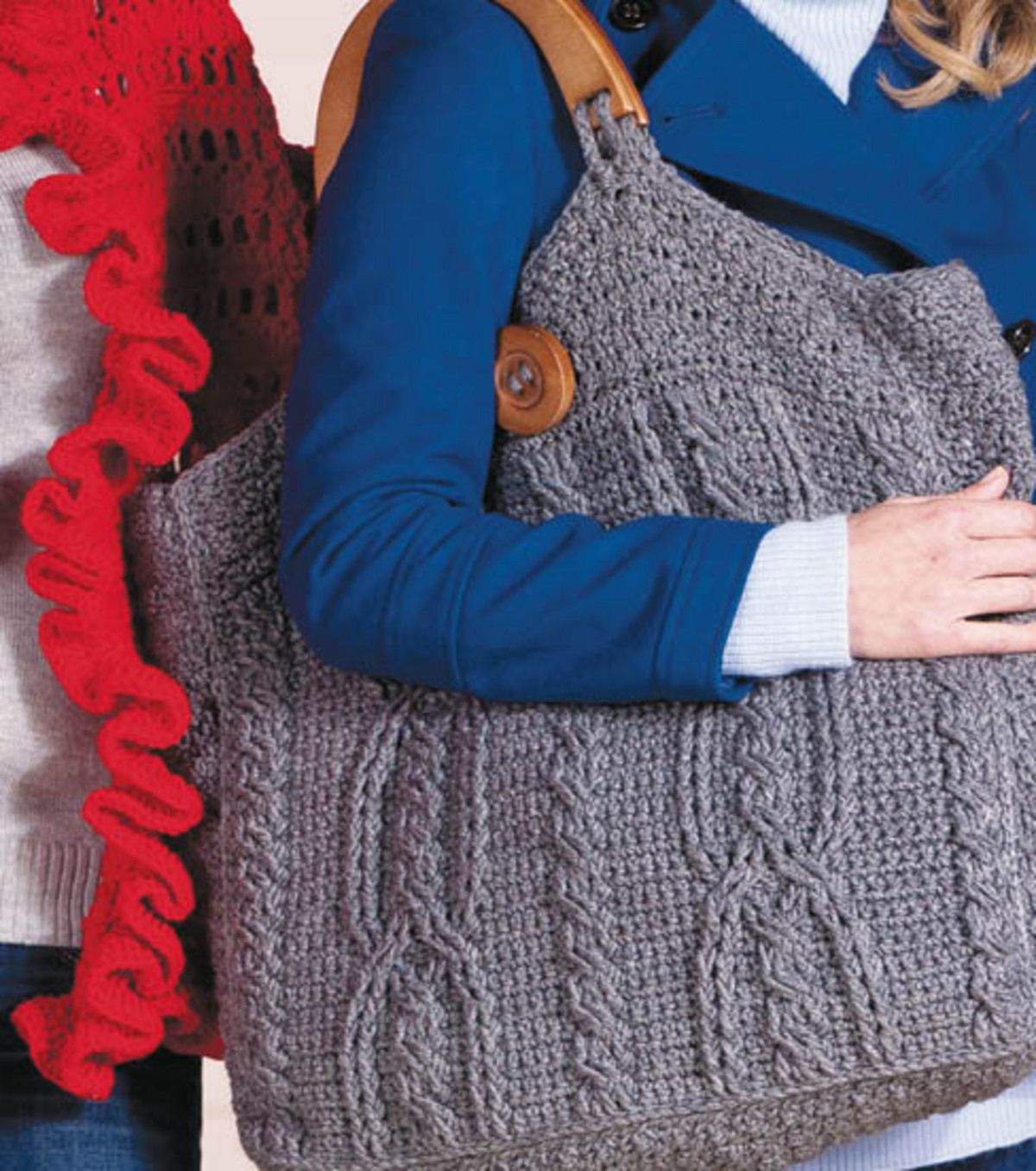 Love this crocheted bag! #RedHeart #yarn #grey | Crochet with JOANN ...