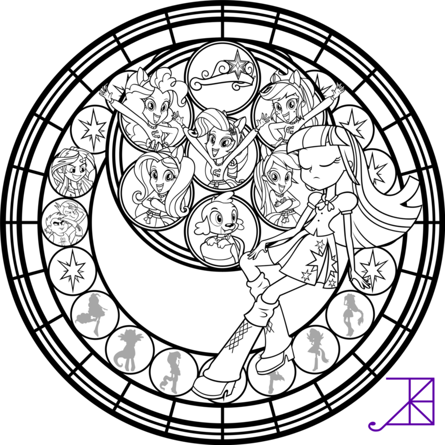 Rainbow rocks dazzlings coloring pages - Equestria Girls Stained Glass Coloring Page By Akili Amethyst