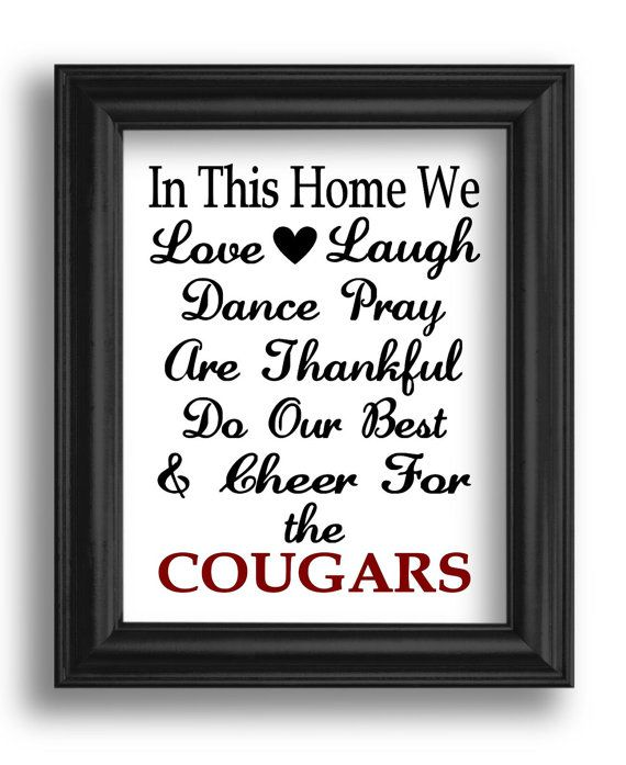 """In This Home We... Cheer for the (Your Sports Team) - Vinyl Art Wall Decal for the Home or Entry Way Frame - 10"""" W x 13"""" H on Etsy, $15.00"""