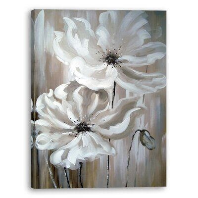 Ebern Designs White Flower I Oil Painting Print On Wrapped Canvas Wayfair Ca In 2021 Flower Painting Canvas Flower Wall Canvas White Canvas Art