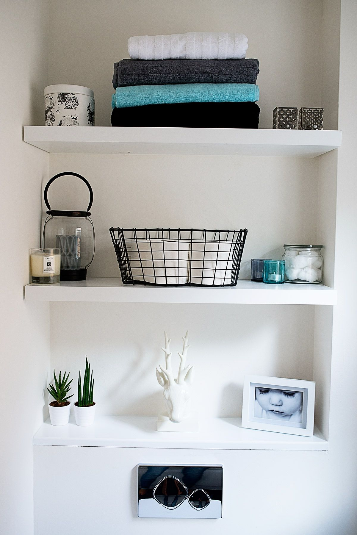 DIY Floating Bathroom Shelves- Monochrome and Grey with a hint of ...