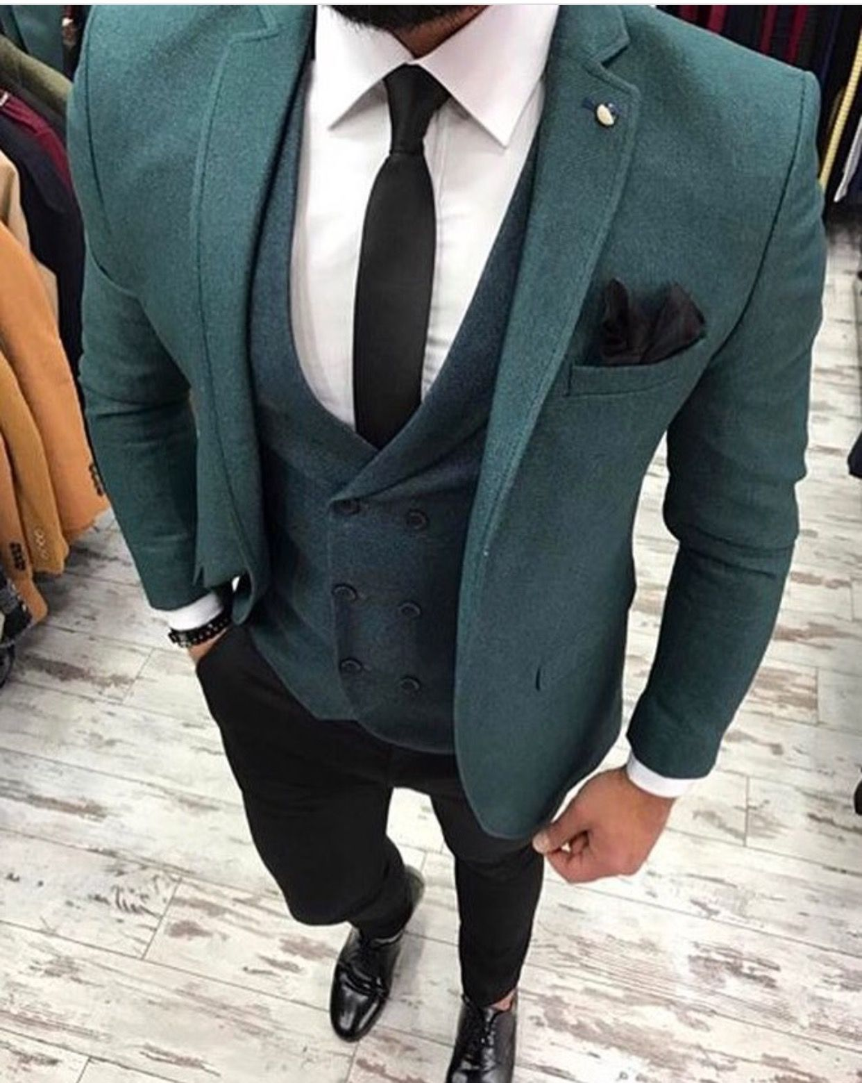 7dce02f35 Men s green three piece suit with black pants