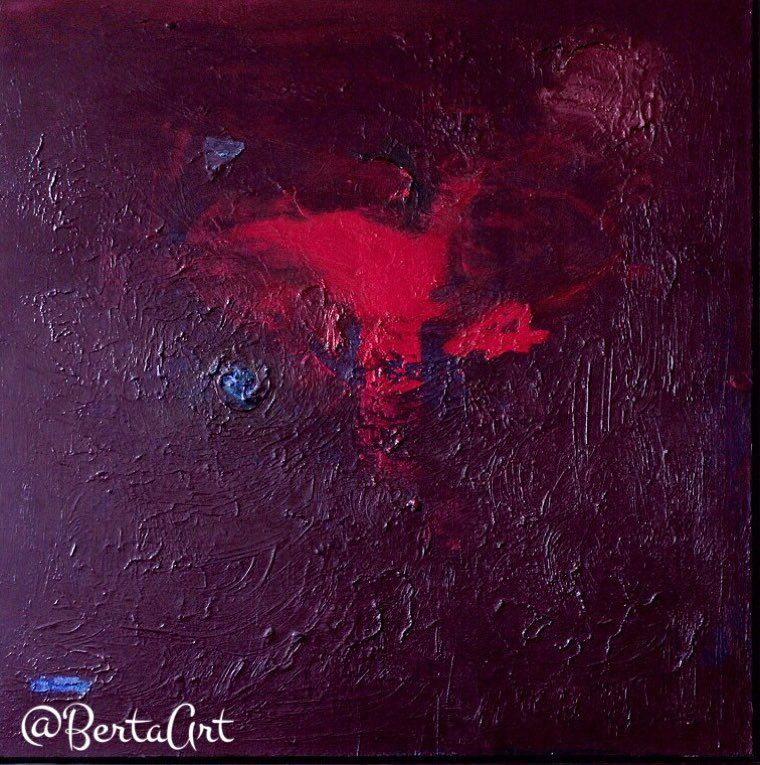 Thinking of You - mixed media on canvas!  Vibrant red brings out the sensual side of me!  #iwatermark #mixedmedia #modernart #artsdistrict #dtla #losangeles #red #painting #design #interiordesign by bertaart