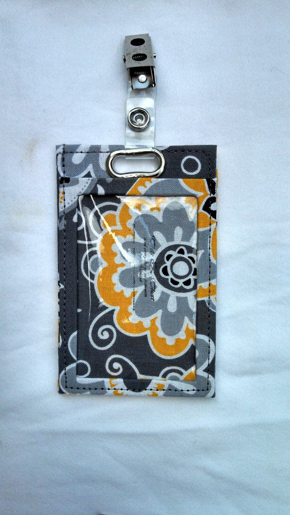 Gray and Yellow Flowered Vertical ID Holder by