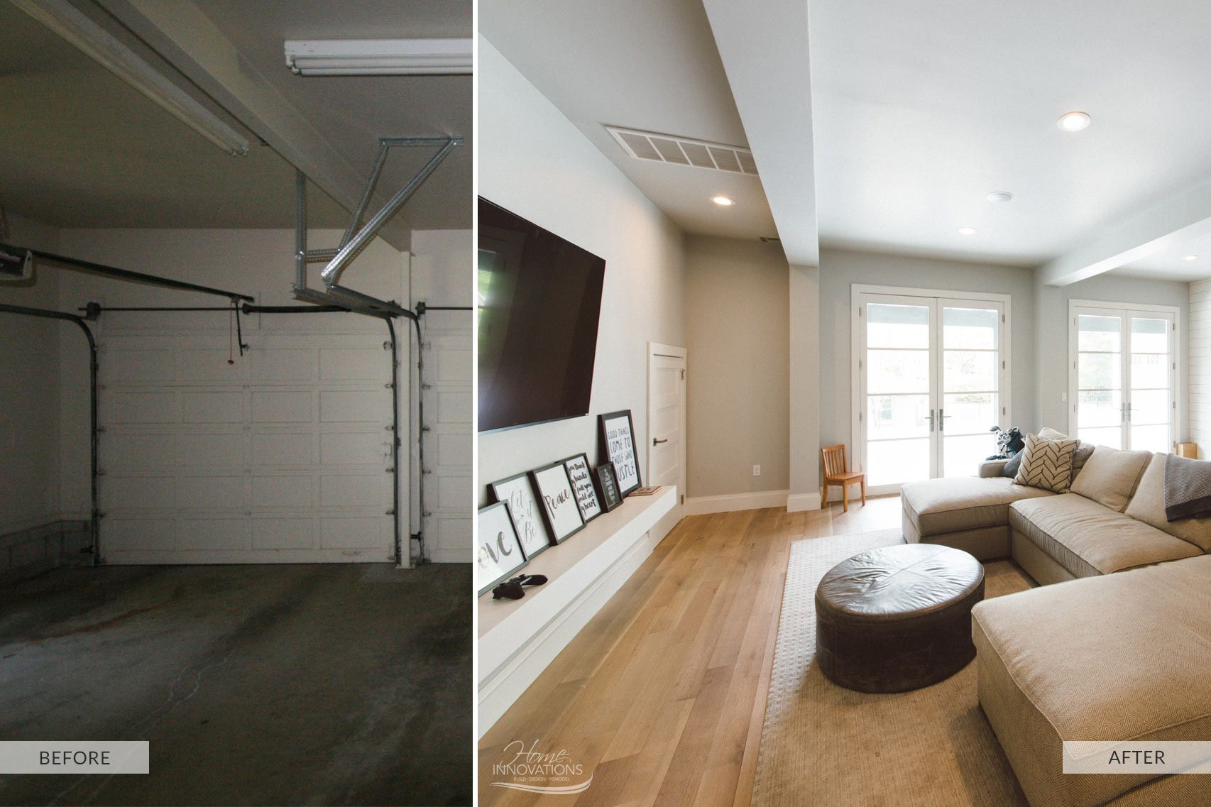 Garage Remodel Before and After transformed into