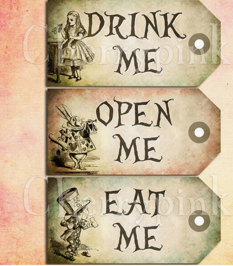 Drink Me Open Me Eat Me Alice In Wonderland Vintage Alice In Wonderland Tea Party Alice In Wonderland Birthday