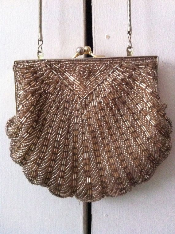 gold small vintage beaded purse beaded purses