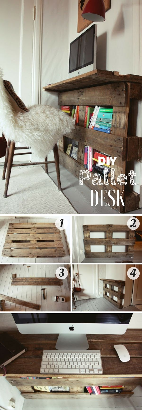 15 incredible do it yourself pallet ideas pallet desk pallets and desks. Black Bedroom Furniture Sets. Home Design Ideas