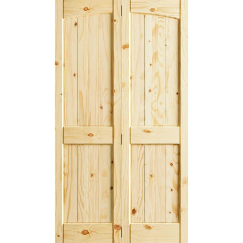 Frameport Fa 3299406w Unfinished Knotty Pine 30 Inch By 80 Inch Rebated 4 Panel Arch Top Interior Bifold Door With Installation Hardware Bifold Doors Knotty Pine Doors Wood Doors Interior