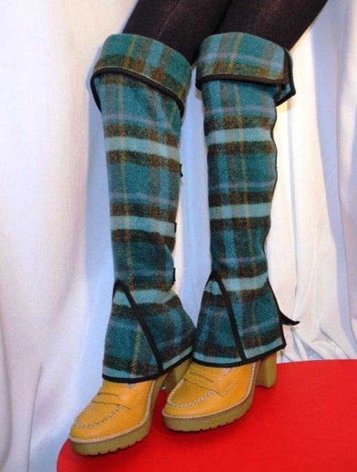 Victorian Spats Comfortable Leg Warmers Green Wool Tartan Gift One ...