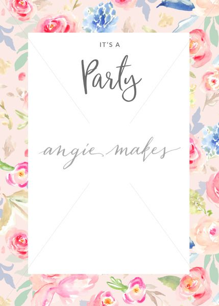 Painted Flowers Party Invitation Blank Watercolor Flower Party – Flower Party Invitations